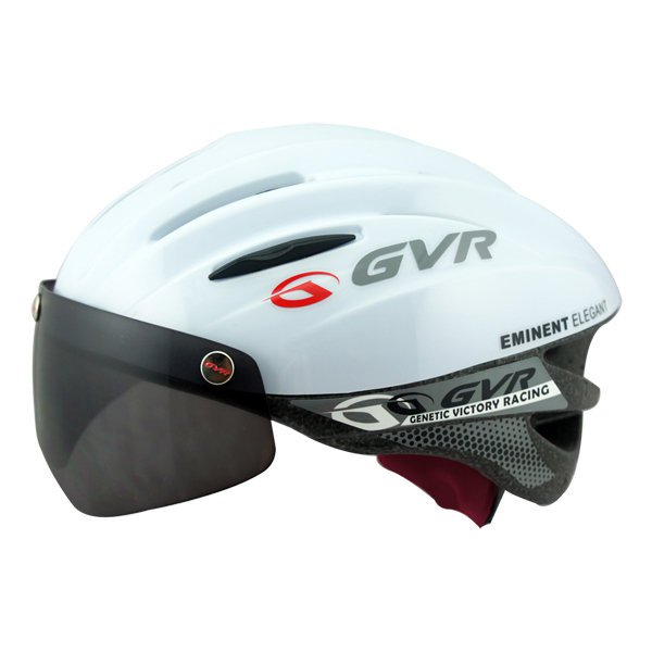 GVR Cycling Helmet G-203V With Magnetic Visor Solid - White  Free Shipping !