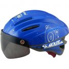 GVR Cycling Helmet G-203V With Magnetic Visor Bubble - Blue  Free Shipping !