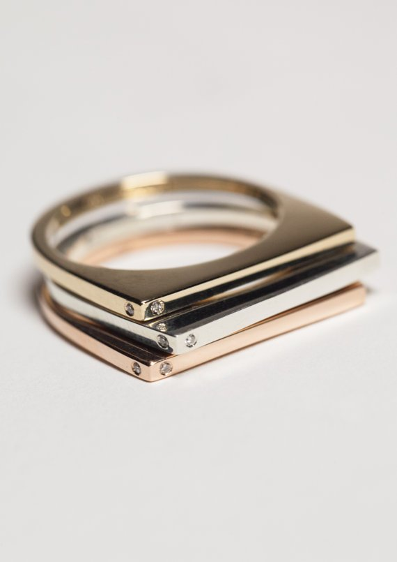 Set of Three - 14K Rose Gold, 14K Yellow Gold & Sterling Silver - Stacking Ring With Diamonds