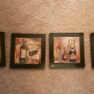 4 paintings 6x8 wine  champagne drinking some wear