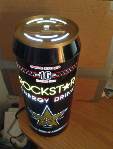 """Rockstar Energy Drink Can motion light bar sign about 12"""" tall by 5"""" diameter"""