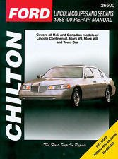 Chilton Repair Manual Lincoln Coupes and Sedans, 1988-00 #26500 cover has wear