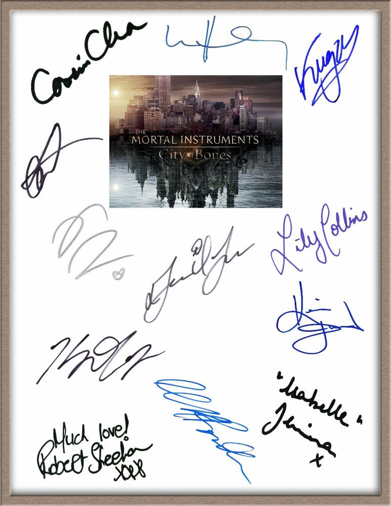 LILY COLLINS JAMIE CAMPBELL BOWERS SIGNED X12 THE MORTAL INSTRUMENTS SCRIPT RPT