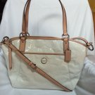 COACH Signature Embossed Liquid Patent Leather Tote Bag Off-White-NWT-SRP:$428