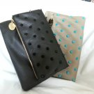 Deux Lux Handbag-Empire State Spiky Foldover Clutch Bag Purse Putty/Black NWOT