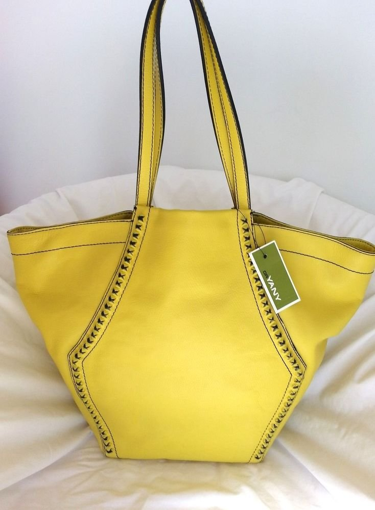 orYANY Alexandra AX034 Large Leather Tote Bag in Citrus Yellow -NWT-SRP:$385.00