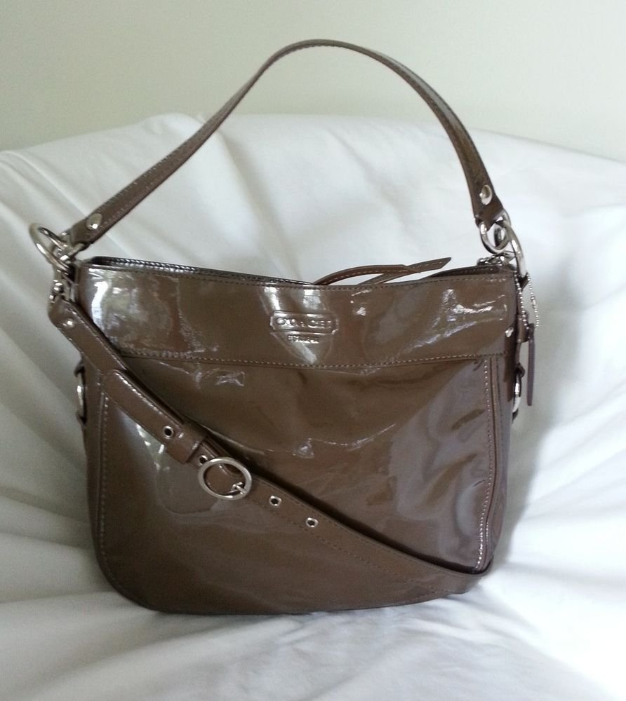 Authentic COACH Zoe Liquid Patent Leather Convertible Bag in Brown-NWOT-SRP:$398