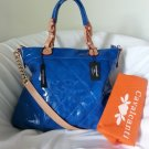 Cavalcanti Blue Liquid Quilted Patent Leather Shoulder Bag/Crossbody-NWT-Italy