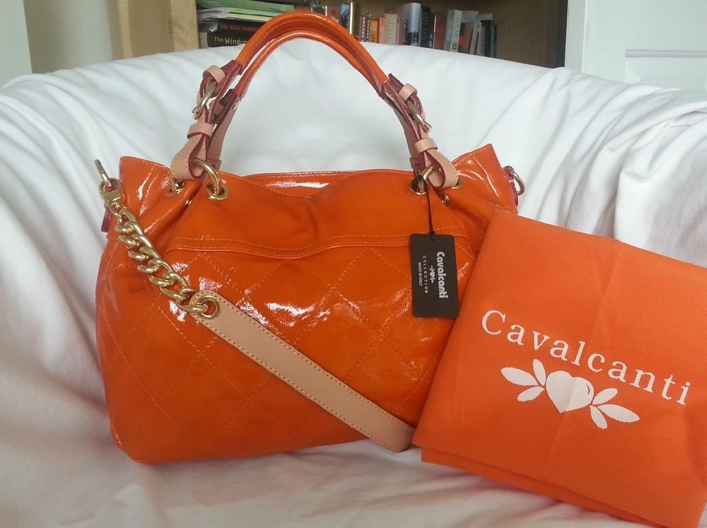 Cavalcanti Quilted Patent Leather Shoulder Bag Crossbody In Orange Nwt Italy