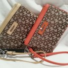 DKNY DONNA KARAN MONOGRAM/ORANGE or GOLD WRISTLET CLUTCH-NWT-SRP $95.00