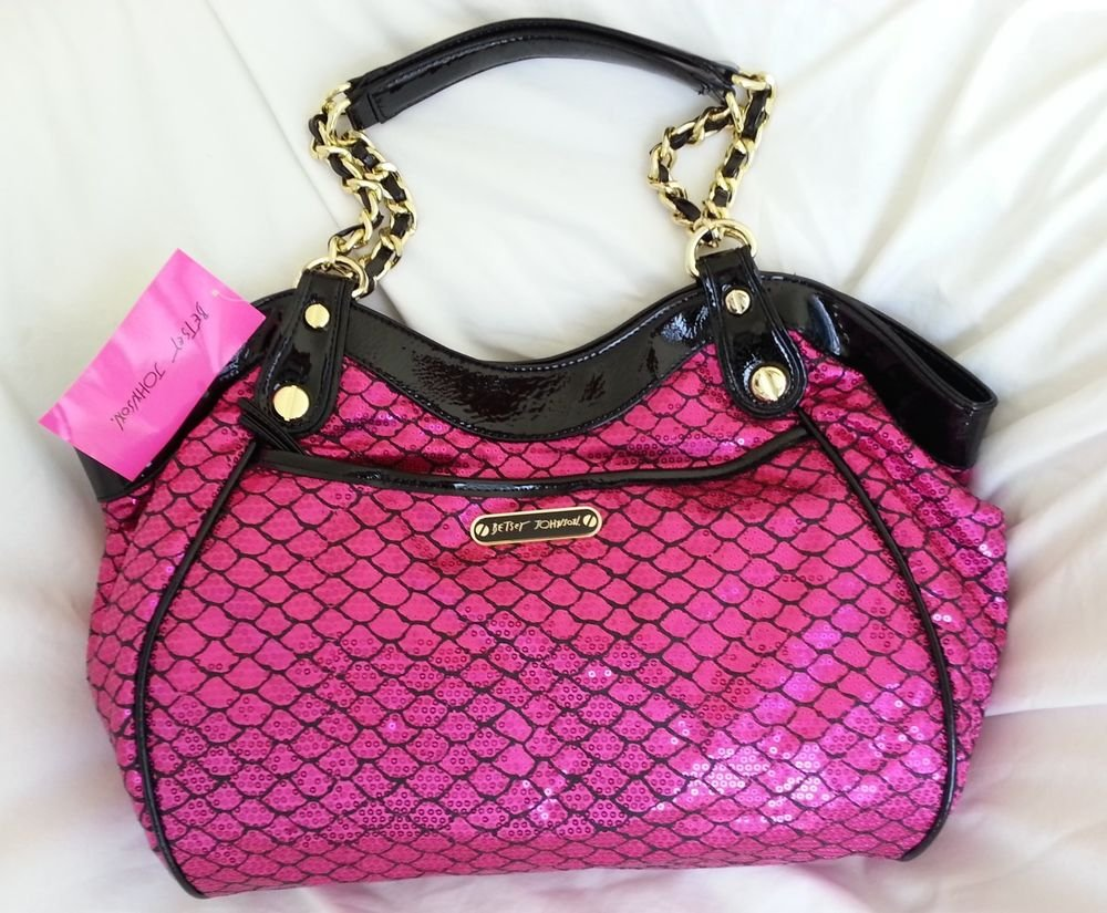 BETSEY JOHNSON HANDBAGS SEQUINED ROMANCE SATCHEL BAG HOT PINK SRP: $108-NWT