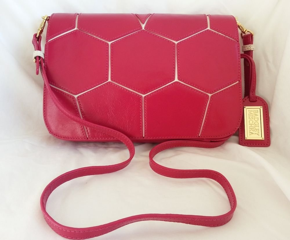 BADGLEY MISCHKA Maria Polished Leather Convertible Hex Tote Fuchsia-NWT-RP: $298