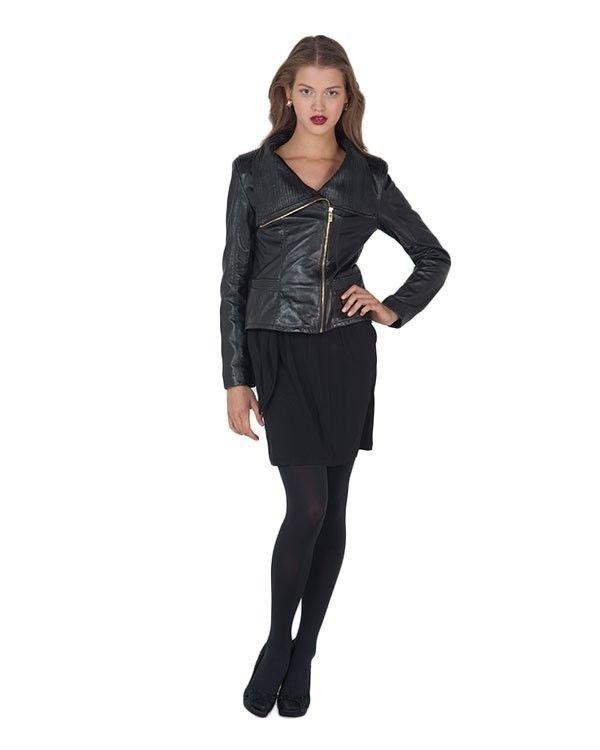 Badgley Mischka Mel High Collar Leather Moto Jacket Black-Sz XL-NWT-RP: $495.00