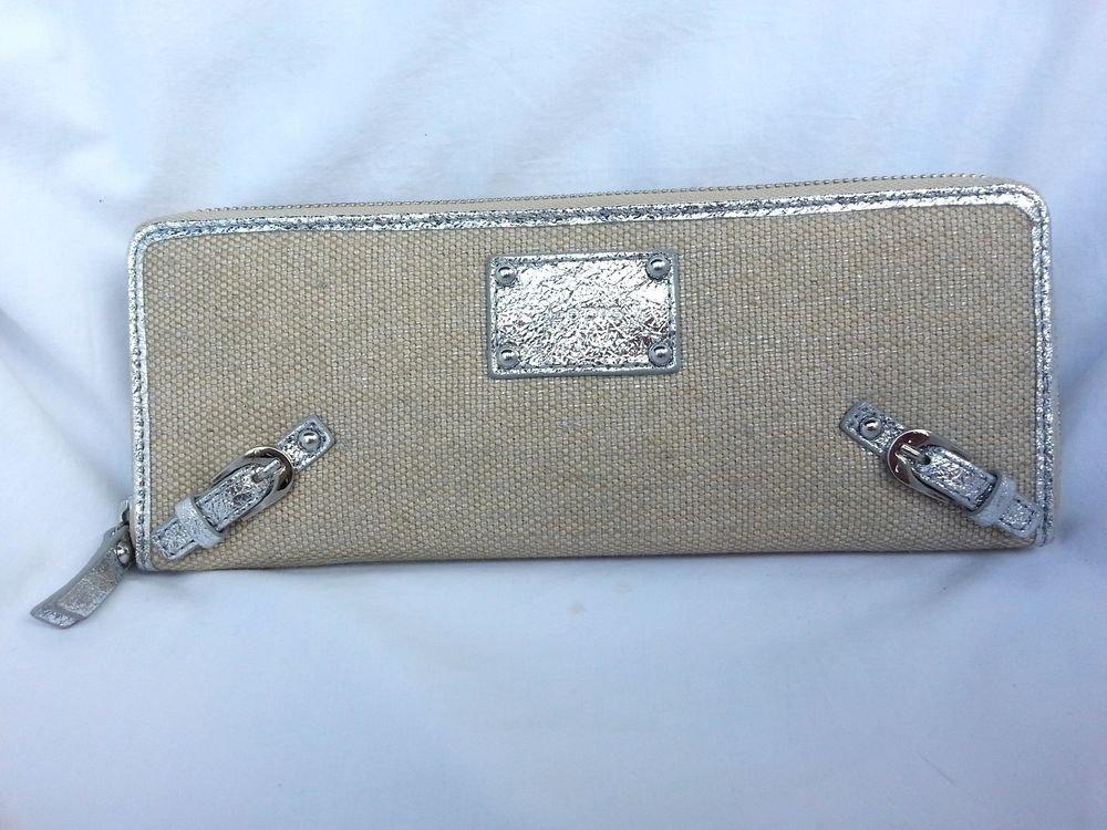 LODIS Bora Bora Darby Long Zipper Clutch/Wallet in Silver & Canvas NWT-SRP $108