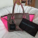 Cynthia Rowley Handbag Leather Tote/Shoulder Bag Purse Brown & Neon Pink - NWT