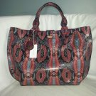 Tahari Leather Multi-Color Python Embossed Tote Bag NWT-SRP: $268