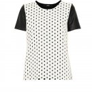 Cut25 Yigal Azrouel Eyelet T-Shirt Nappa Leather Sleeve in Optic NWT-RP: $295