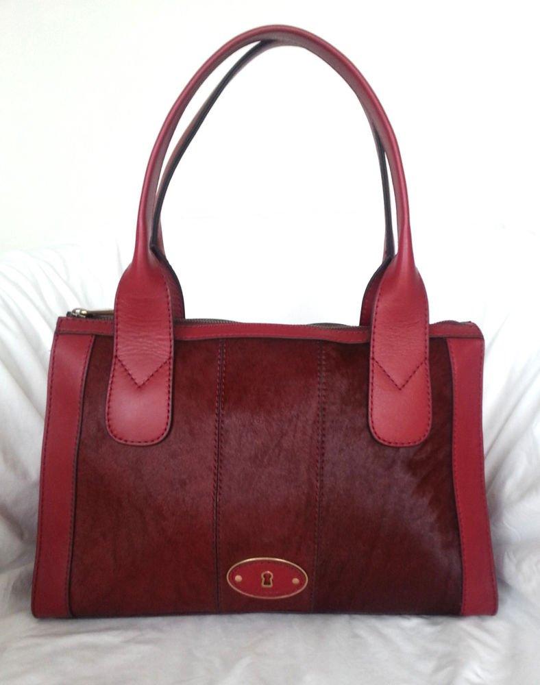 FOSSIL Vintage Reissue Top Zip Satchel Shoulder Bag in Cranberry-NWT-RP: $248