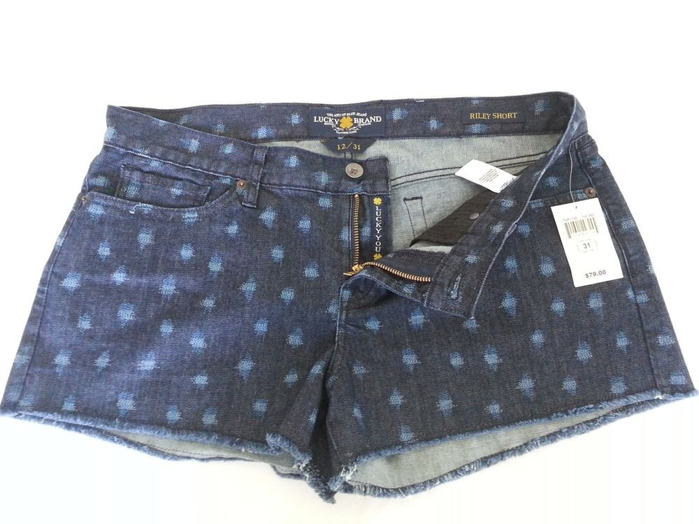 Women's Lucky Brand Denim Riley Frayed Short Size 12 (31)-NWT-SRP: $79.00