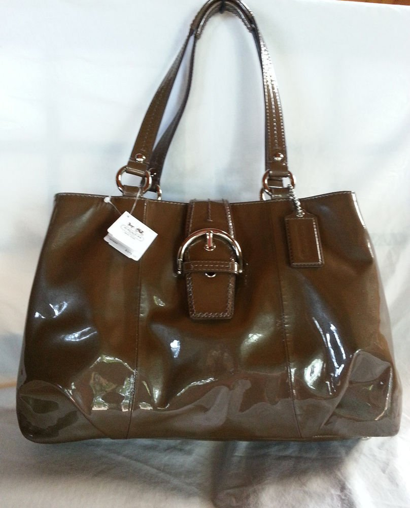 Authentic COACH Soho Patent Leather  Shoulder Bag in Chocolate-NWT-SRP: $378.00