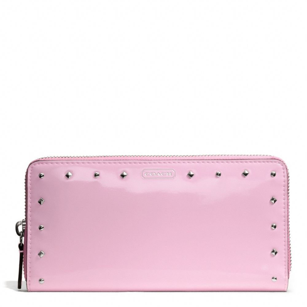 COACH Wallet-Studded Liquid Gloss Zip Around Wallet in Pale Pink-NWT-SRP: $228