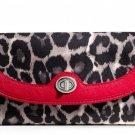 COACH PARK OCELOT PRINT W/RED TRIM SLIM ENVELOPE BI-FOLD WALLET-NWT-SRP: $218