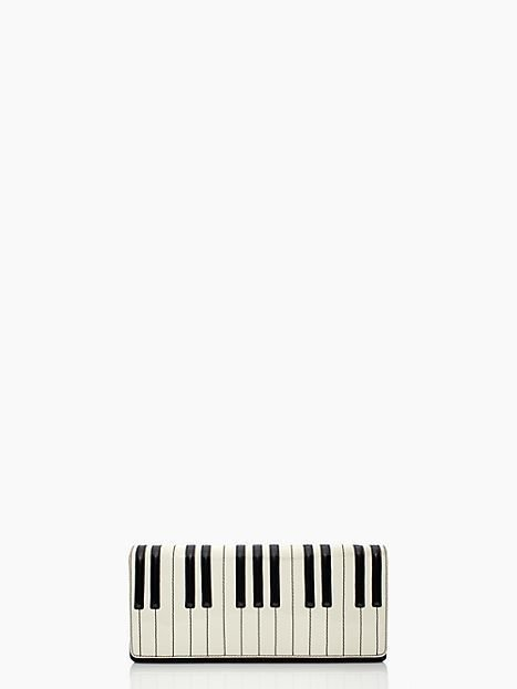 Kate Spade New York Duet Piano Clutch Bag in Black/White Leather-NWT-$195.00