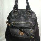 EMMA FOX Leather Classics Foldover Tote/Crossbody Bag in Black NWT-SRP:$298.00