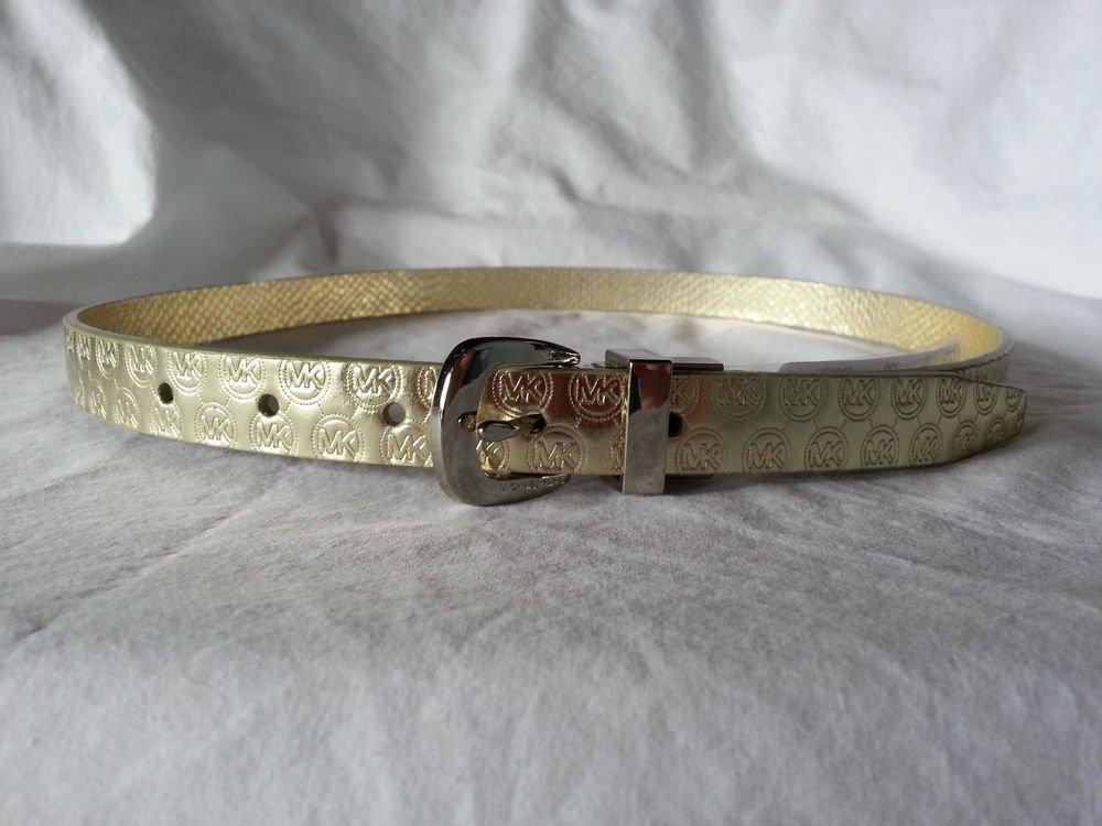 Michael Kors Leather Reversible  Monogram Metallic Gold S, M-NWT-SRP :$48