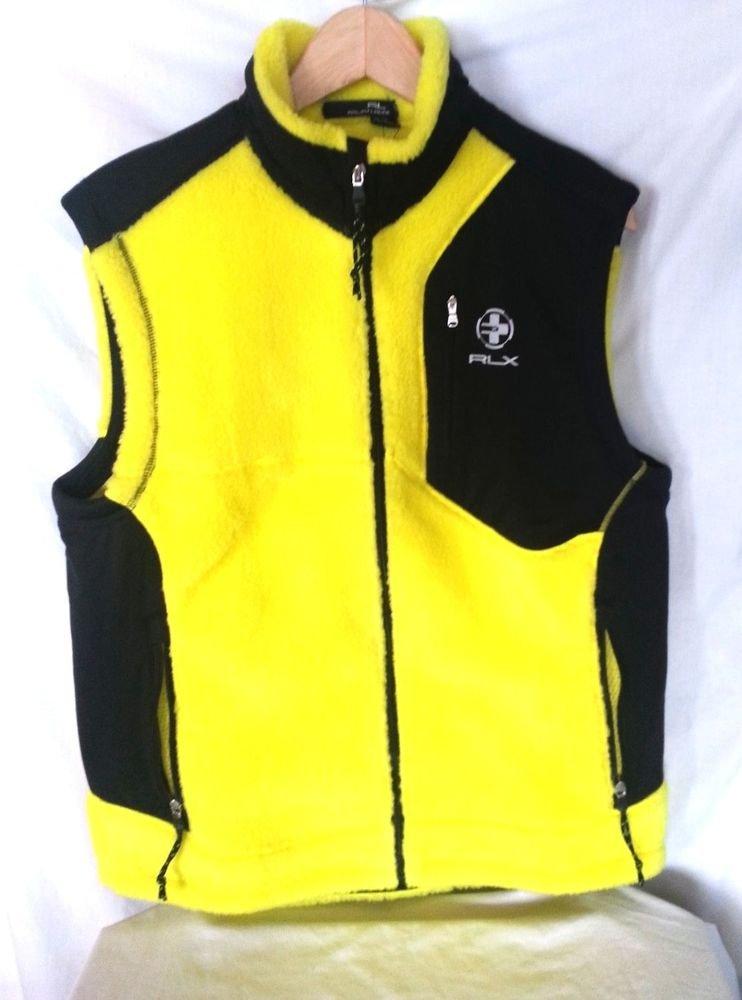 RLX Ralph Lauren Men's Fleece Yellow/Black Reflective Cycling Vest