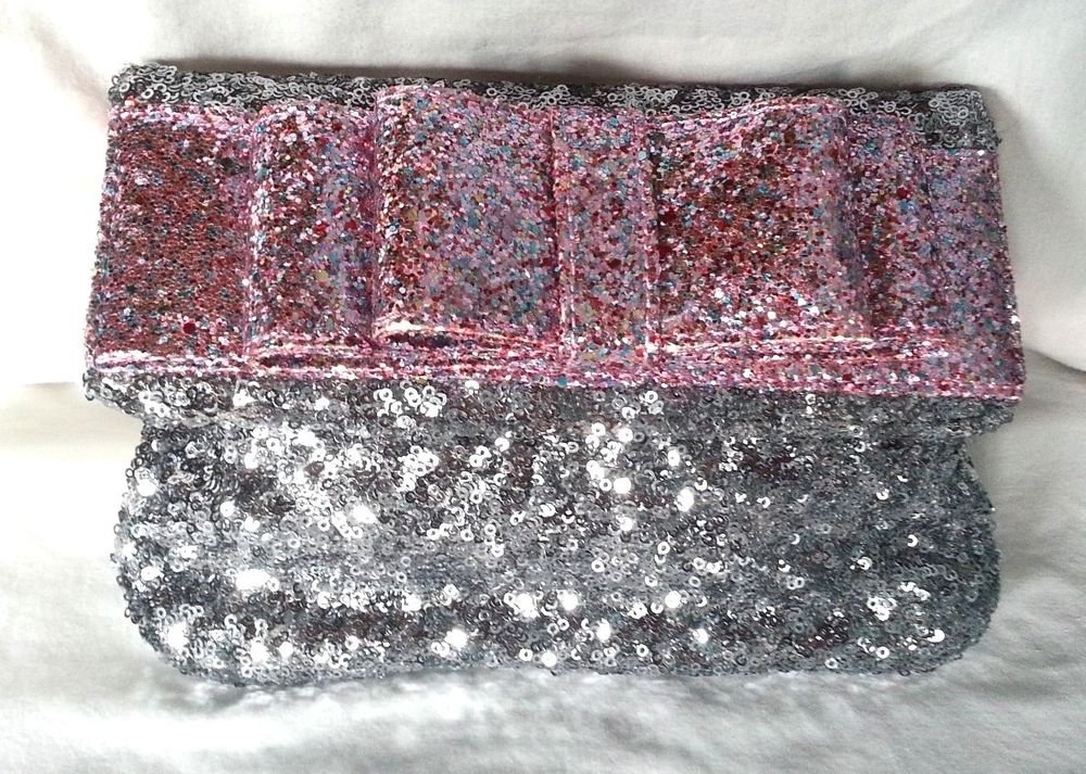 Deux Lux Handbag-Sequined Bow Clutch Bag Mist/Silver, Gunmetal/Pink NWT-RP: $95