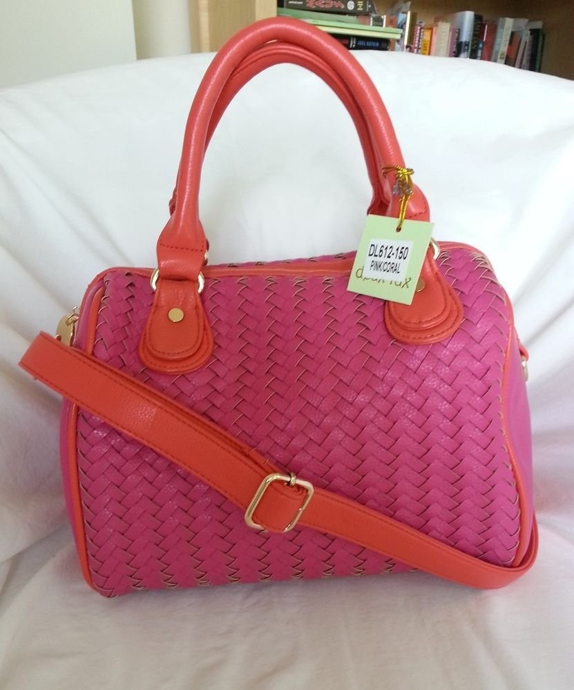 DEUX LUX Handbag-Greenwich Woven Bowler Bag Crossbody in Pink/Coral-NWT-SRP:$165