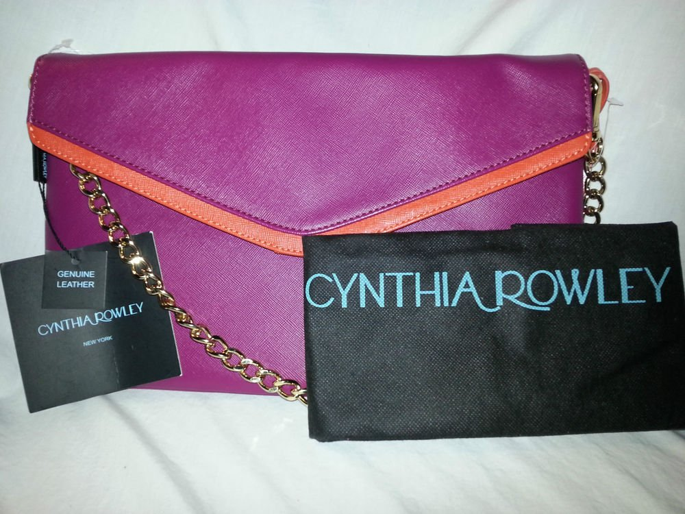 CYNTHIA ROWLEY Leather Envelope Convertible Shoulder/Crossbody Fuschia Pink-NWT