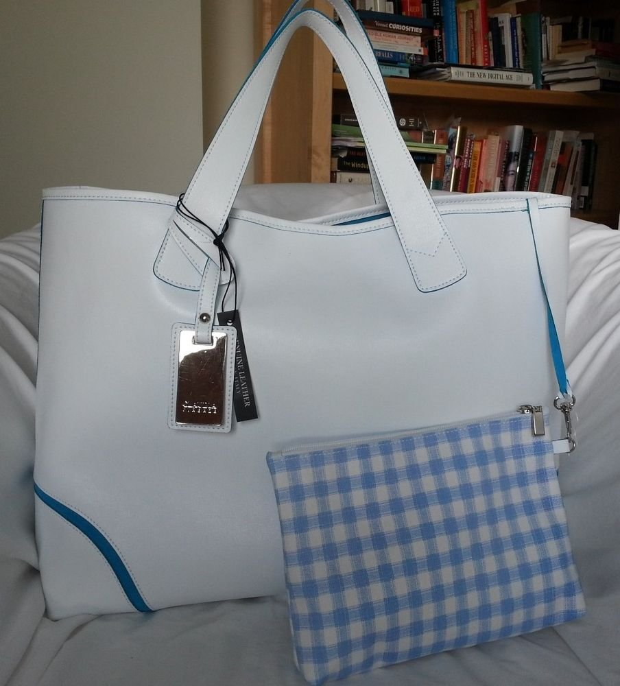 CLAUDIA Firenze  Large Textured White Leather and Suede Tote Bag-NWT-SRP: $395