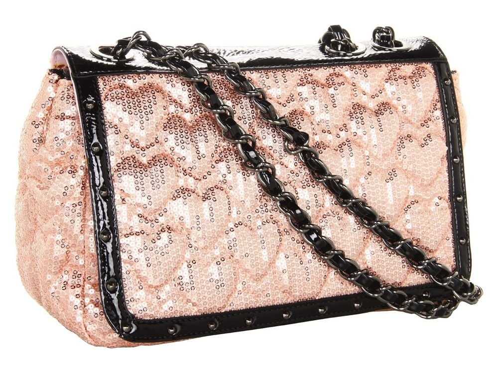 Betsey Johnson High Sequency Sequined Shoulder Bag in Blush, Black-NWT-SRP: $98
