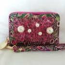Deux Lux Handbag-Sparkle Seychelle Peacock Mobile Phone Wristlet Pink/Orange-NWT