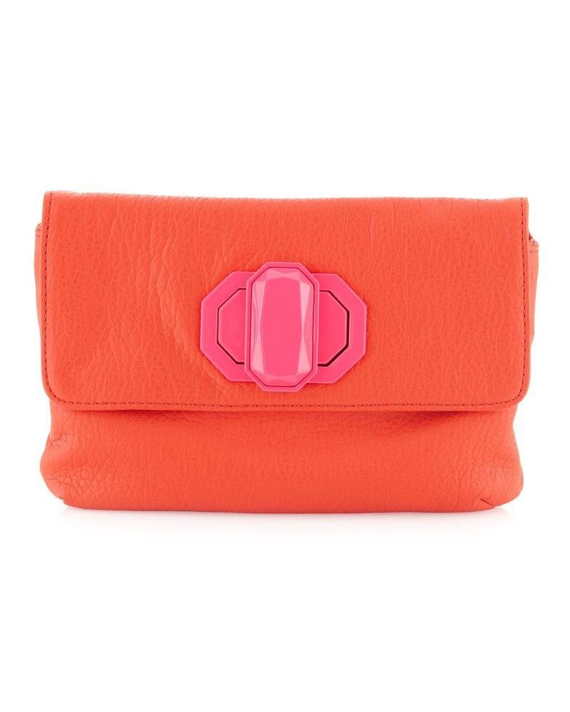 Deux Lux Handbag-Jules Neon Turn-Lock Clutch Bag Orange/Pink, White/Yellow NWOT