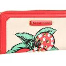 BETSEY JOHNSON BJ-EWELED GRAPHIC ZIP AROUND WALLET IN GUAVA-NWT-SRP:$68