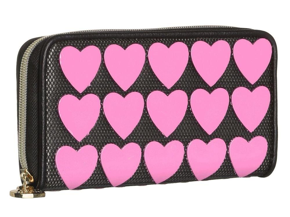 BETSEY JOHNSON WALLET PLASTIK HEARTS ZIP AROUND BLACK/PINK-NWT