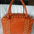 LAURA DI MAGGIO ORANGE STUDDED LEATHER SQUARE BOWLER BAG MADE IN ITALY-NWT