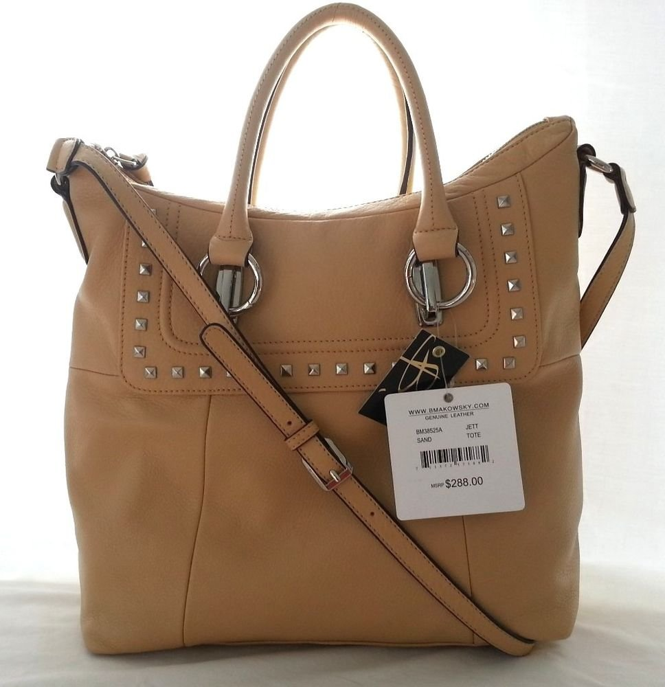 B. Makowsky Jett Leather Tote Shoulder Bag in Sand-NWT-SRP: $288