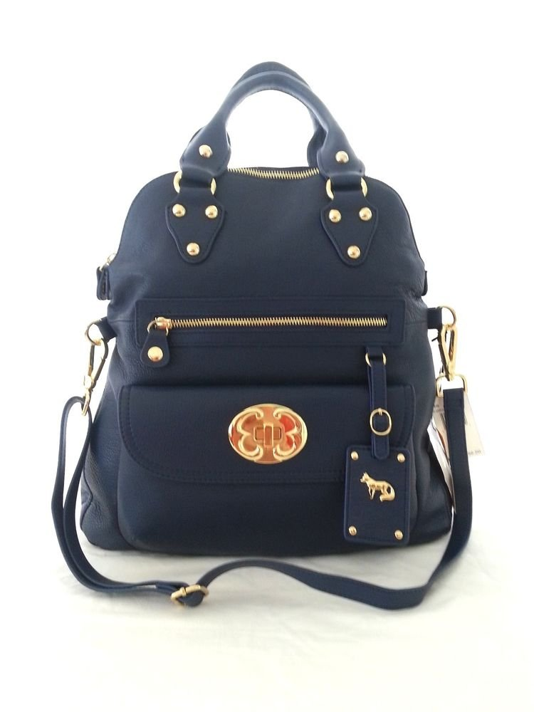 EMMA FOX Leather Classics Tote/Crossbody Bag in Ultramarine Blue-NWT-SRP:$298.00