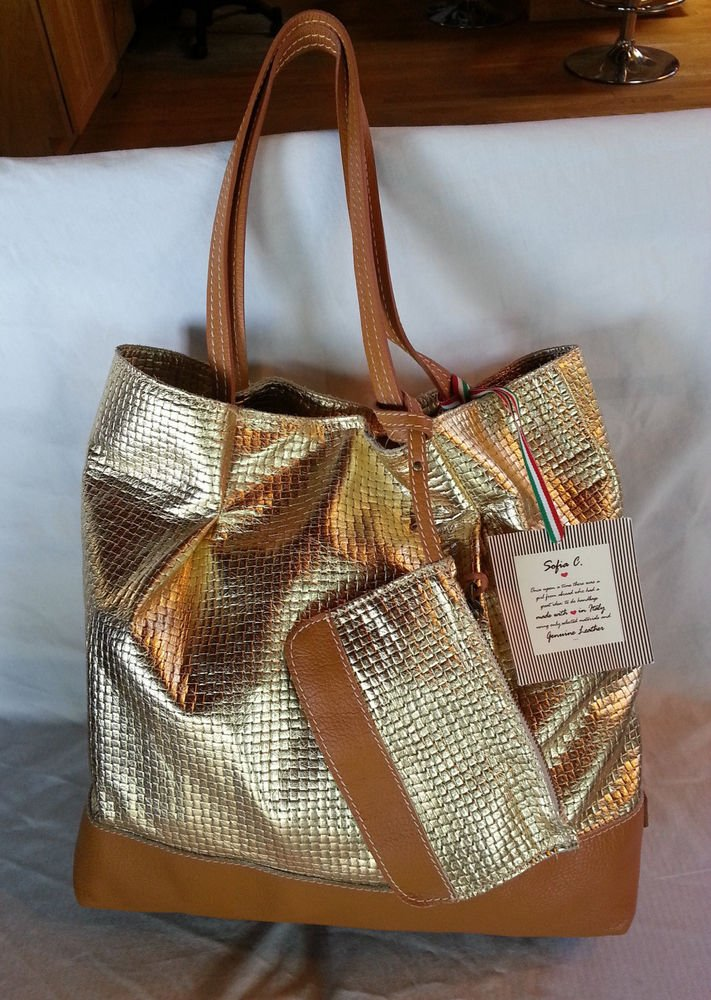 Sofia C. Leather Slouchy Tote Handbag Metallic Gold Made in Italy-NWT-SRP:$271