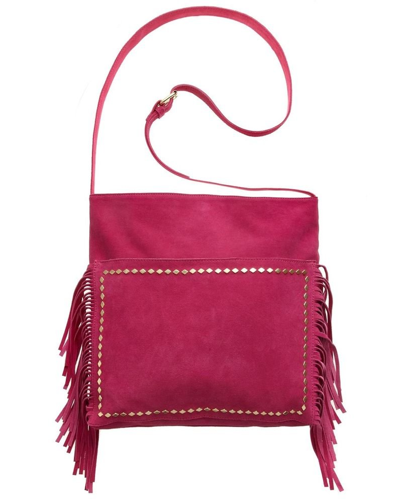 Steve Madden Suede BMANTRA Fringe Crossbody Bag in Fuchsia Pink-NWT-SRP:$128