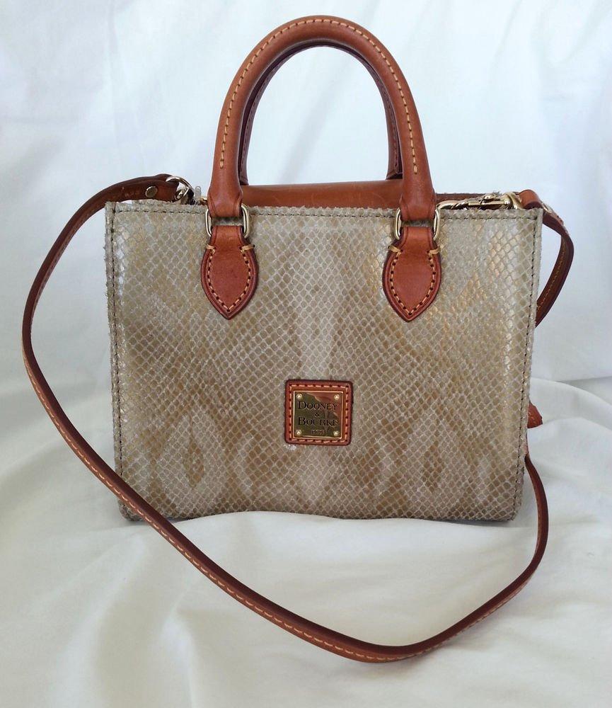 Dooney Bourke Handbags Mini Janine Snake Embossed Satchel Bag in Gold-RP: $168