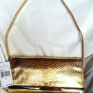 Michael Kors Leather Tilda Clutch/Shoulder Bag in Metallic Gold-NWT-SRP:$218