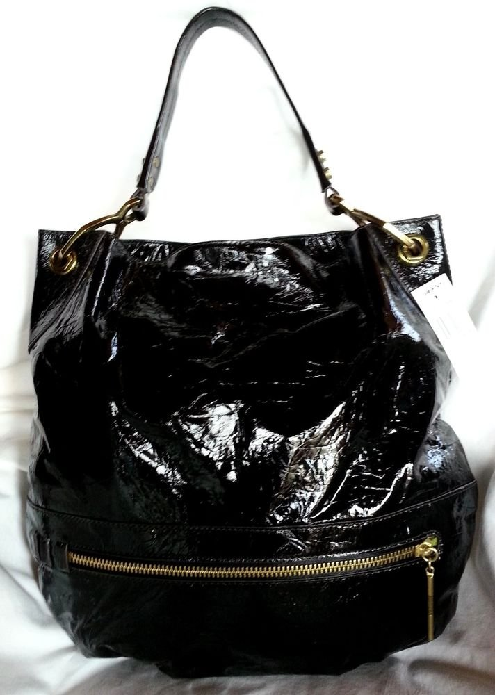 orYANY Lucy Crocodile Patent Leather Hobo Shoulder Bag in Black-NWT-RP:$375.00