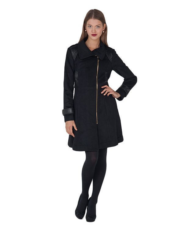 Badgley Mischka London Leather Accent Wool Coat in Black Size XL-NWT-RP: $575