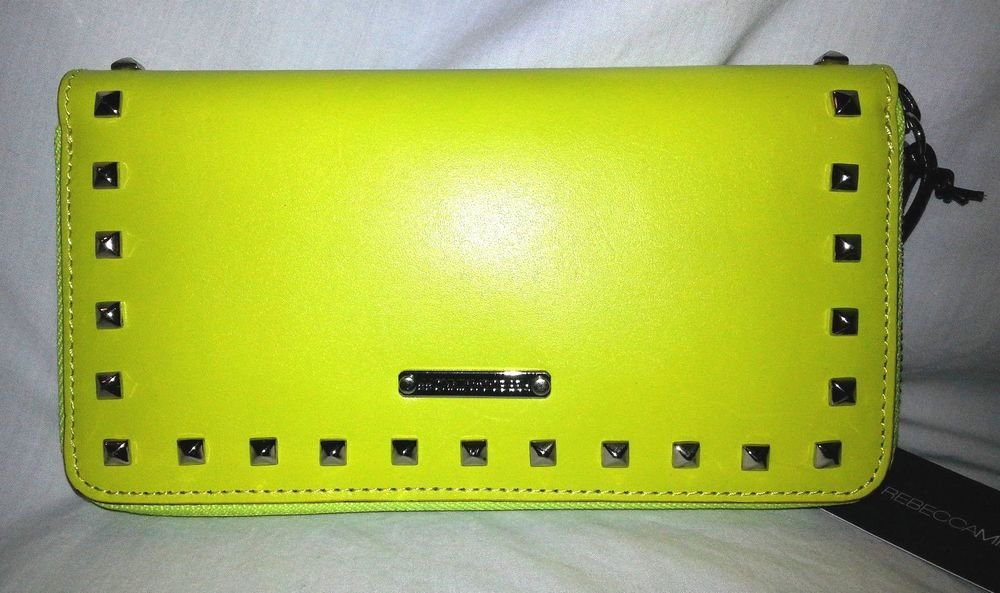Rebecca Minkoff Zip Around Wallet in Neon Yellow with Silver Studs NWT-SRP:$225