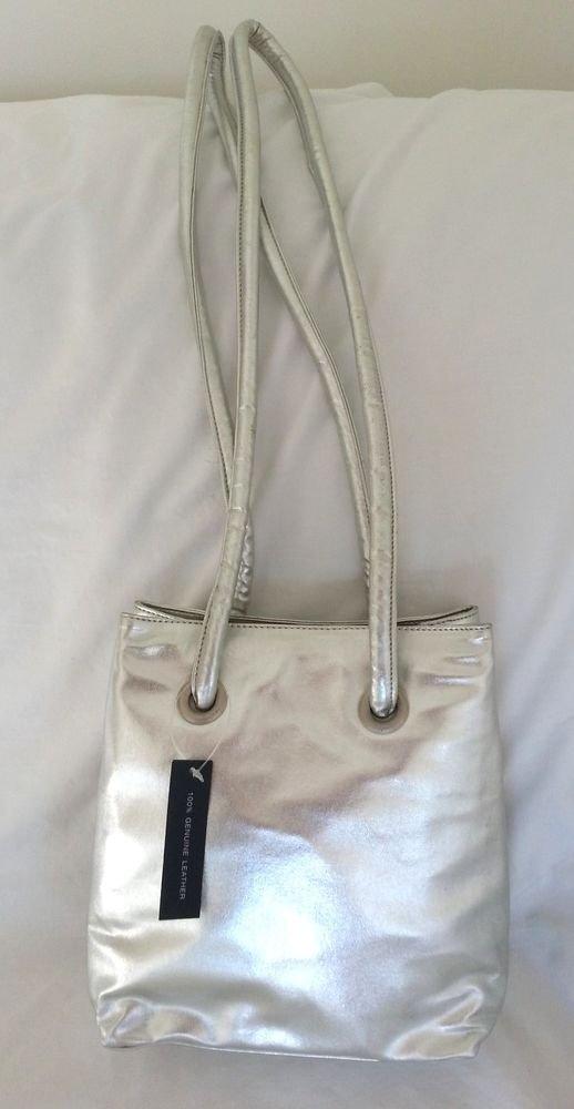 DKNY DONNA KARAN Soft Leather Crossbody/Shoulder Bag in Metallic Silver-NWOT